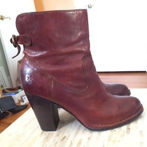 Frye Lara Short Slouch Brown Leather Boots Sz 10